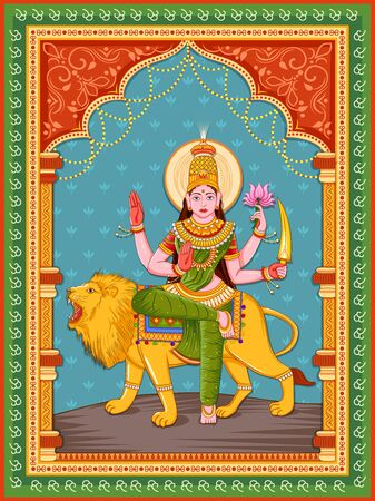 Vector design of statue of Indian Goddess Katyayani one of avatar from Navadurga with vintage floral frame Çizim