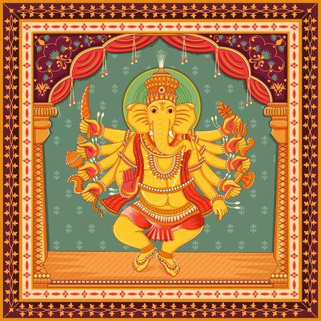 Disegno vettoriale della statua del Signore indiano Ganesha con cornice floreale vintage