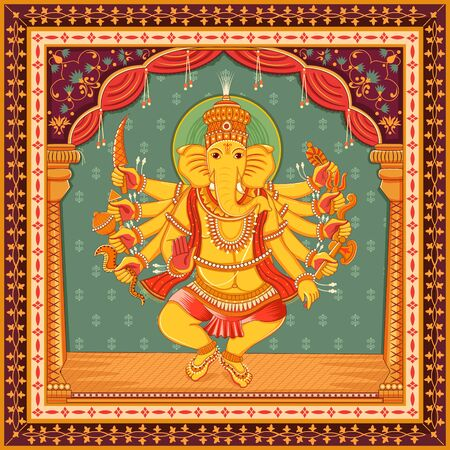 Vector design of statue of Indian Lord Ganesha with vintage floral frame