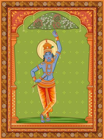 Vector design of Vintage statue of Indian God Krishna with vintage floral frame