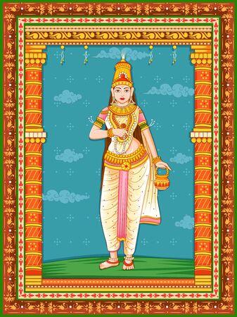 Design der Statue der indischen Göttin Brahmacharini, eines Avatars aus Navadurga mit Vintage-Blumenrahmen