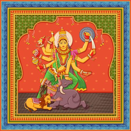 Vector design of statue of Indian Goddess Durga with vintage floral frame