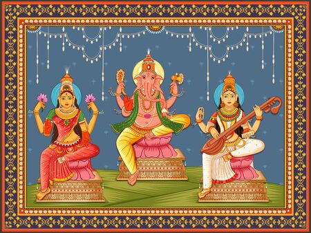 Vector design of statue of Indian God Lakshmi Ganesha and Saraswati with vintage floral frame