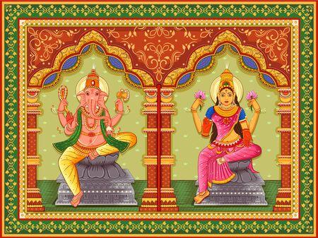 Design of statue of Indian God Lakshmi Ganesha with vintage floral frame