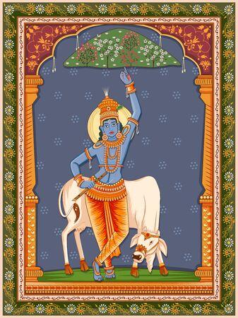 Design of Vintage statue of Indian God Krishna with vintage floral frame