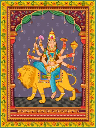Design of statue of Indian Goddess Kushmanda one of avatar from Navadurga with vintage floral frame 矢量图像