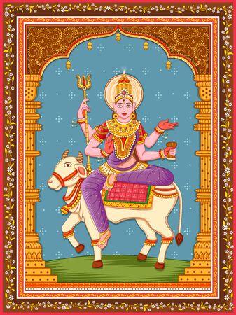 Design of statue of Indian Goddess Maha Gauri one of avatar from Navadurga with vintage floral frame Çizim