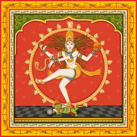 Design of statue of Indian Lord Shiva Nataraja with vintage floral frame 일러스트