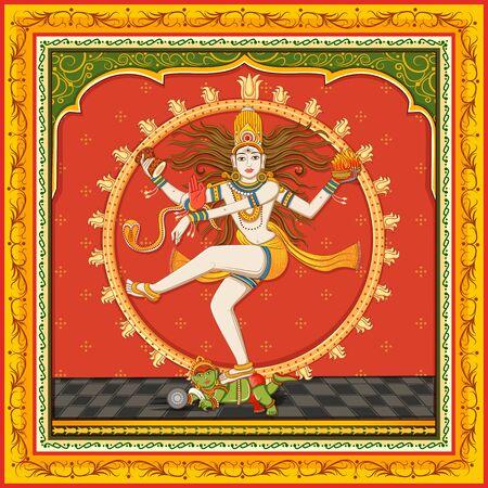 Design of statue of Indian Lord Shiva Nataraja with vintage floral frame Illustration