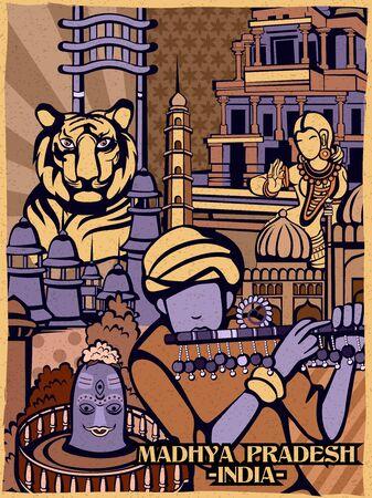 Colorful cultural display of State Madhya Pradesh in India