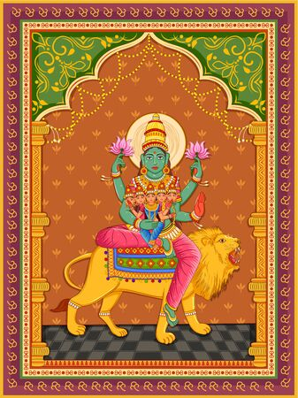 Statue of Indian Goddess Skanda Mata  one of avatar from Navadurga with vintage floral frame