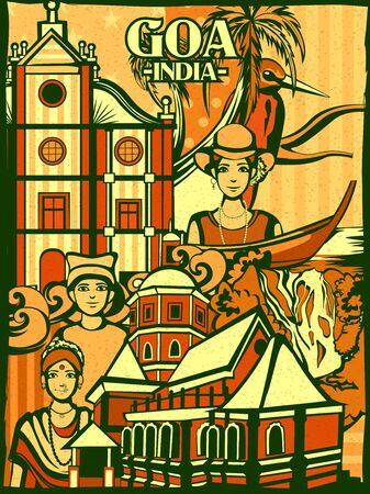 Colorful cultural display of State Goa in India Illustration