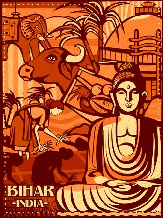 Colorful cultural display of State Bihar in India Illustration