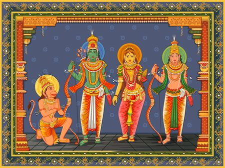 Statue of Indian God Rama, Laxmana, Sita and Hanuman with vintage floral frame