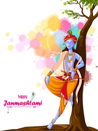 God Krishna playing flute on Happy Janmashtami festival