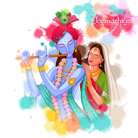 God Krishna playing flute with Radha on Happy Janmashtami festival