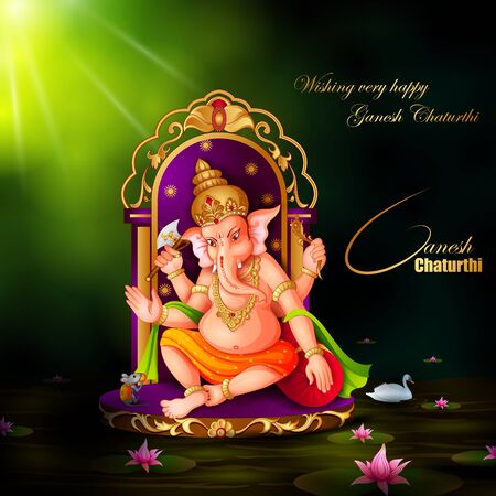 Lord Ganapati for Happy Ganesh Chaturthi festival religious banner