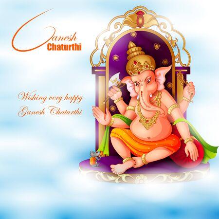 Lord Ganapathi na sztandar religijny festiwalu Happy Ganesh Chaturthi