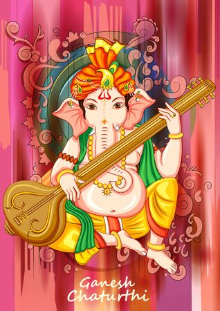 Vector design of Indian Lord Ganapathi for Ganesh Chaturthi festival of India