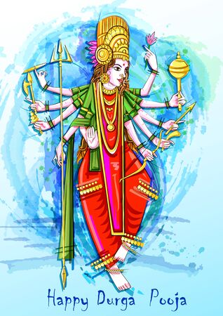 Indian Goddess Durga sculpture for Durga Puja holiday festival of India in Dussehra Vijayadashami Navratri