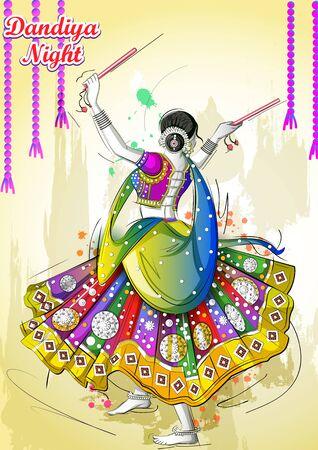 Indian woman playing Garba in Dandiya Night Navratri Dussehra festival of India