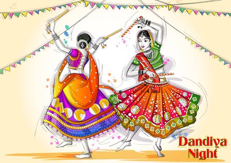 Indian woman playing Garba in Dandiya Night Navratri Dussehra festival of India