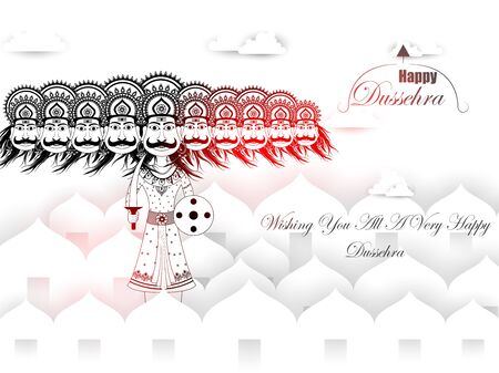 Ravana in Happy Navratri Dussehra festival of India Illustration