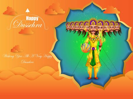 Ravana in Happy Navratri Dussehra festival of India Illustration