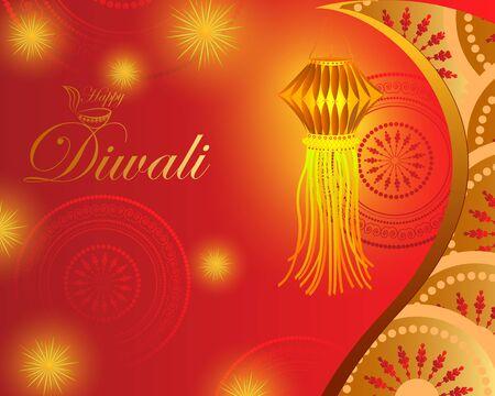 Decorated hanging Kandil lantern for Happy Diwali festival holiday celebration of India greeting background Illustration
