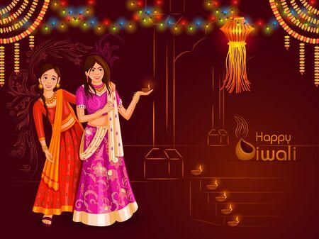 Indian family people celebrating Happy Diwali festival holiday of India Illustration