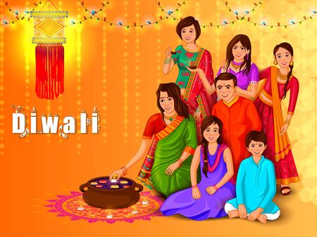 Indian family people celebrating Happy Diwali festival holiday of India Vettoriali