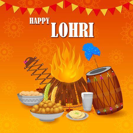 Vector design of harvest festival of Punjab, India Happy Lohri holiday background