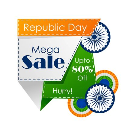 Sale promotion advertisement banner template for 26 January Happy Republic Day of India background