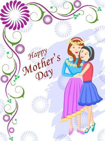 vector illustration of Happy Mother's Day greetings background with mother and kid showing love and affection relationship Ilustración de vector