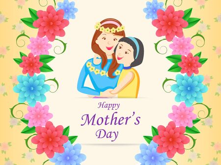 vector illustration of Happy Mother's Day greetings background with mother and kid showing love and affection relationship
