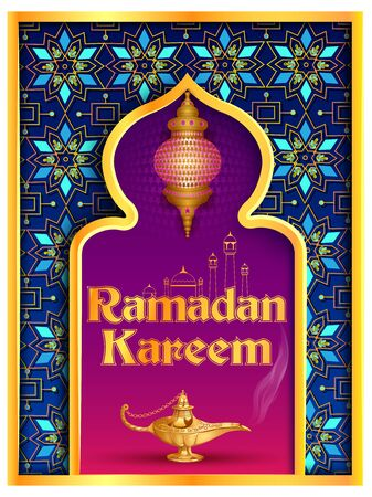 vector illustration of Ramadan Kareem Greetings for Ramadan background with Islamic Mosque