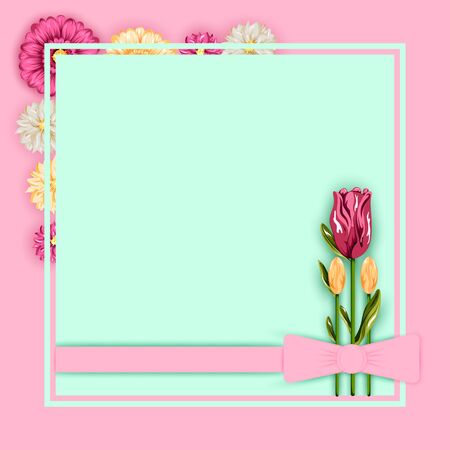 vector illustration of spring fresh flower in floral banner poster background
