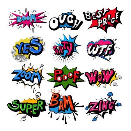 vector illustration of retro pop art comic style chat or speech bubble sound effect and expression