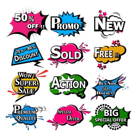 vector illustration of retro pop art comic style chat or speech bubble sound effect and expression for shopping sale and promotion discount offer