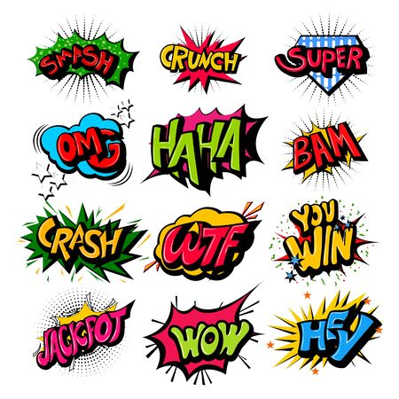 vector illustration of retro pop art comic style chat or speech bubble sound effect and expression 矢量图片