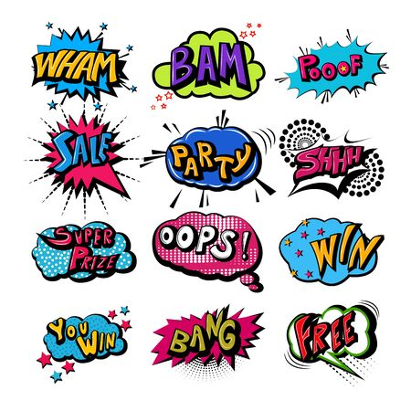 Retro pop art comic style chat or speech bubble sound effect and expression