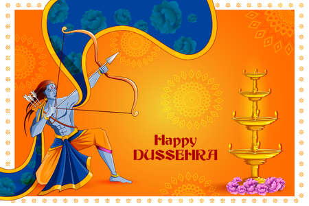 Lord Rama killing Ravana in Happy Navratri festival of India with Hindi word meaning Dussehra