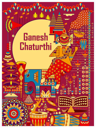 Lord Ganapati for Happy Ganesh Chaturthi festival religious banner background