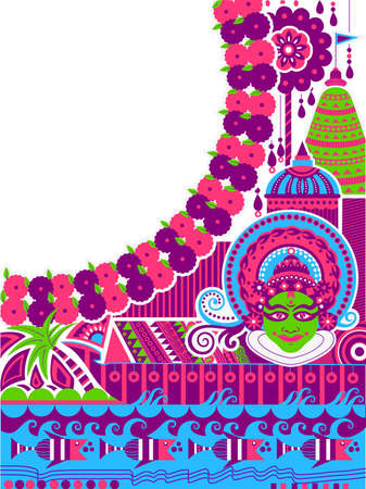 Happy Onam background for Festival of South India Kerala 向量圖像