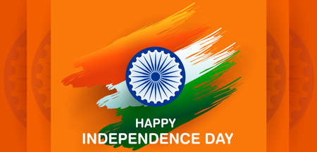 Indian tricolor background for 15th August Happy Independence Day of India 일러스트