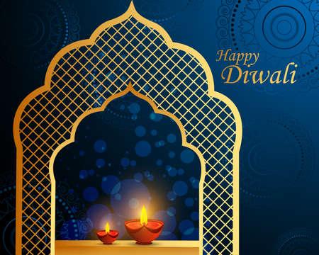 Happy Diwali festival holiday celebration of India greeting background 일러스트
