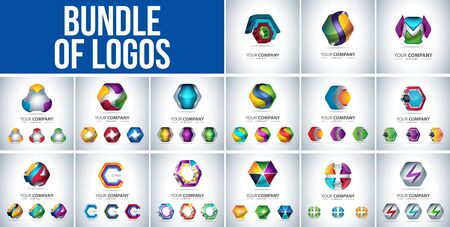 Bundle of Business Logo 3D Hexagon shape, Hi tech Concept, abstract vector template 矢量图像