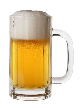 pilsner glass: Isolated mug of lager beer Stock Photo