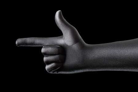 Strange gloved hand pointing with a finger