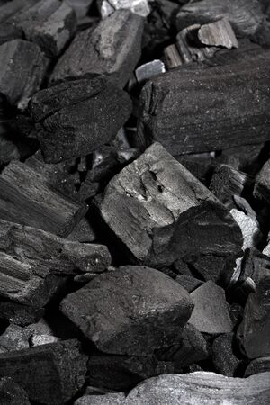 bits and pieces of charcoal.